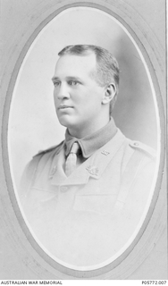 Studio portrait of Lieutenant Alexander Peter Imlay, of Prospect, South Australia. He enlisted in the AIF on 23 September 1914, as a second lieutenant with the 16th Battalion, and embarked from ..
