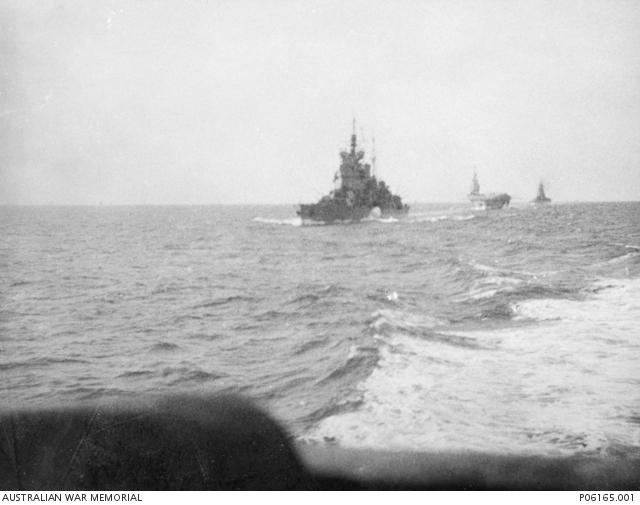 HMS Renown, HMS Victorious and HMS Rodney, taken from HMAS Quiberon