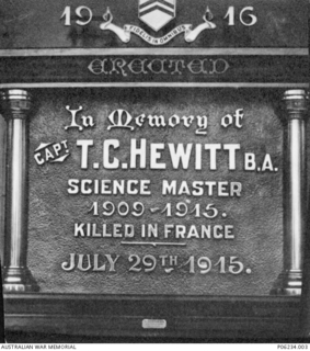 Memorial plaque at Toowoomba Grammar School for Captain (Capt) Thomas Cotgrave Hewitt, 26th Battalion.  The memorial was erected in the school's physics laboratory by students of Hewitt, a science ..