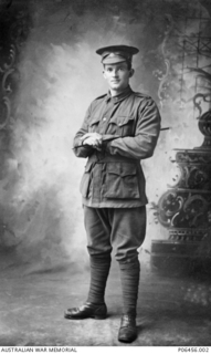 Studio portrait of 4811 Private John Thomas Hall of Highthorpe, Tas.  Pte Hall enlisted in the 12th Battalion on 26 October 1915 and embarked with the 1st Reinforcements on board HMT Arcadian on 29 ..