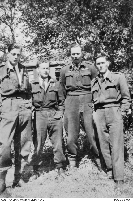 Group portrait of four crew members of Lancaster ED328