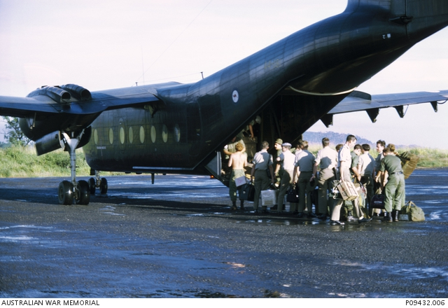 Vietnam, 1969. Australian soldiers from Nui Dat boarding a RAAF Caribou to return to Australia