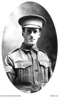 Studio portrait of 253 Sergeant (Sgt) William Henry Cooling, 26th Battalion, of Corrinda, Qld.  A school teacher prior to enlisting in May 1915, Cooling embarked as a Sergeant from Brisbane on ..