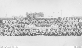 Outdoor group portrait of members of the Australian Army Medical Corps (AAMC)