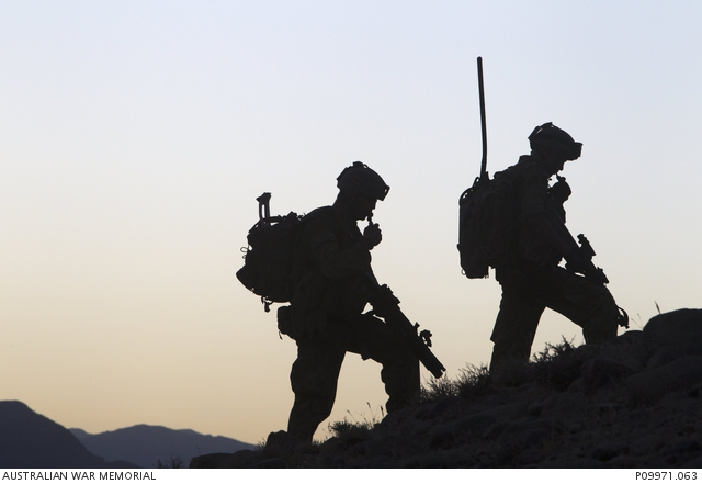 Two soldiers returning from patrol