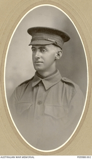 Studio portrait of 717 Private (Pte) Thomas Kevin Martin Cahill, 37th Battalion. An amalgamator from Canterbury, Vic, prior to enlistment, Cahill embarked as a Lance Corporal with B Company from ..