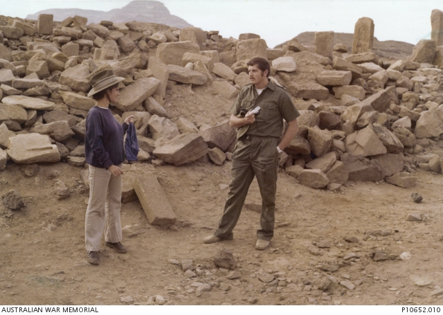 Abandoned ancient city in the Sinai Peninsula with a soldier from