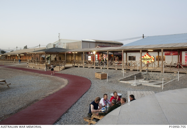 Afghanistan Partnership >> Boardwalk and shops at Kandahar Air Base. | The Australian War Memorial