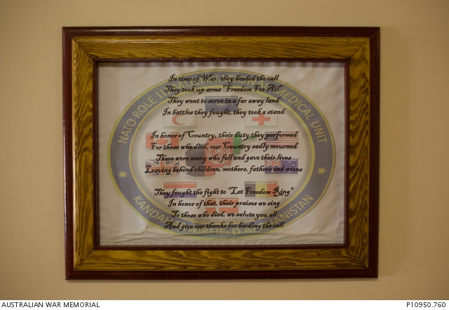 A hospital plaque at the Role III Multinational Medical Unit