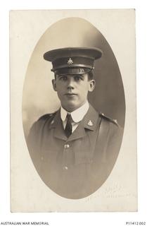 Studio portrait of 19803 Gunner (Gnr) Samuel Joseph Jones, 8th Field Artillery Brigade (FAB). Gnr Jones, a clerk from Fitzroy, Victoria, enlisted on 4 November 1915 and embarked from Sydney aboard ..