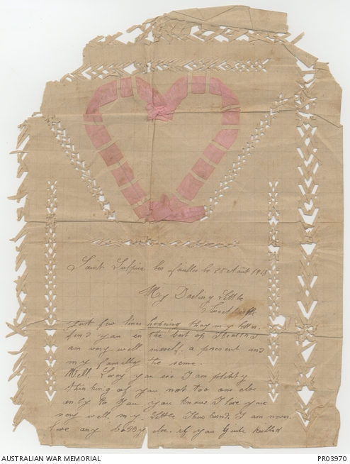 Decorative love letter to an unidentified soldier. PR03970