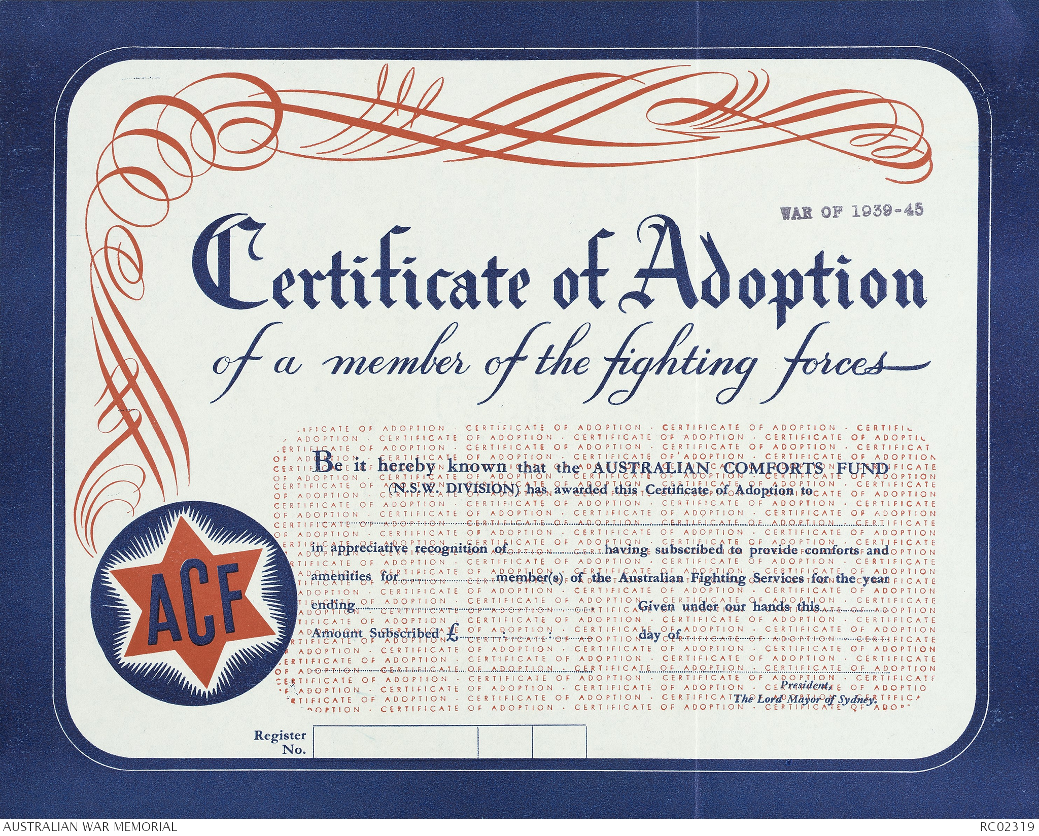 Certification Of Adoption Of A Member Of The Fighting Forces The