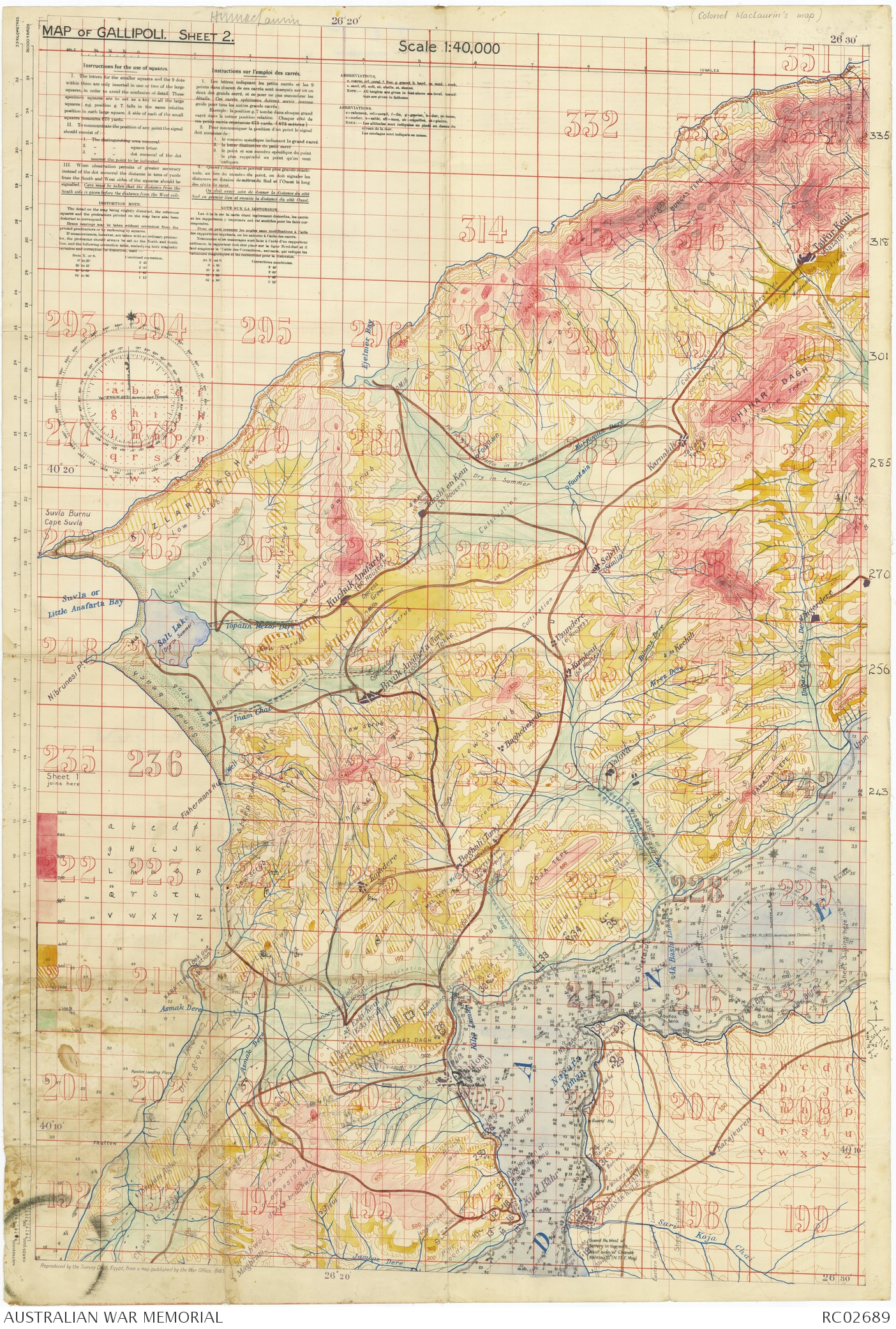 Map of gallipoli sheet 2 140000 the australian war memorial enlarge gumiabroncs Image collections