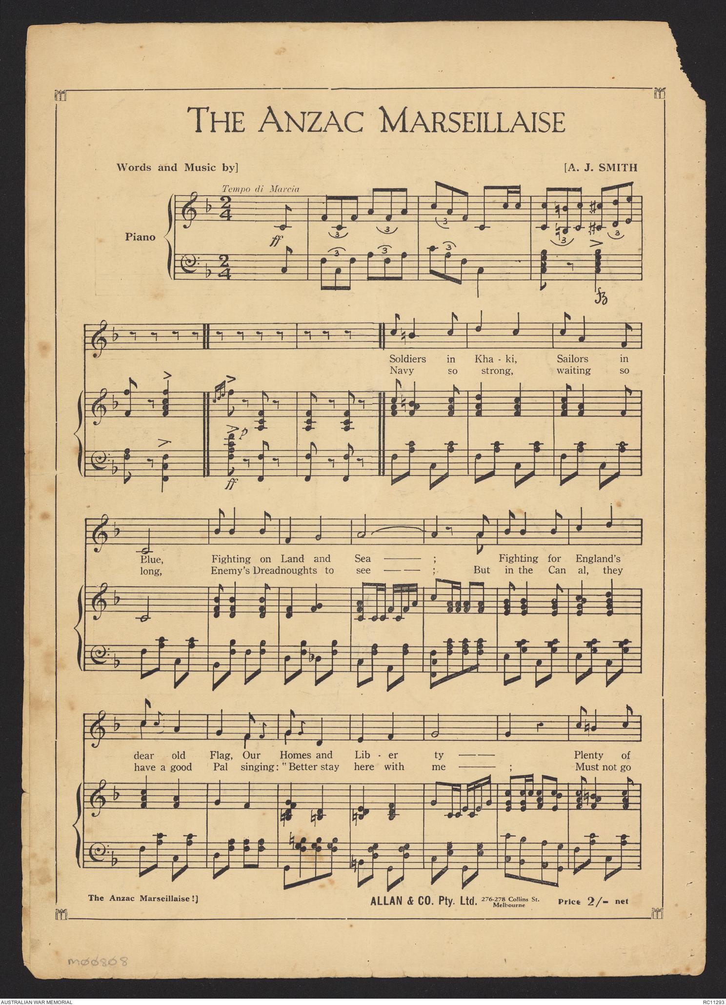 Sheet music] Give me dear Australia | The Australian War