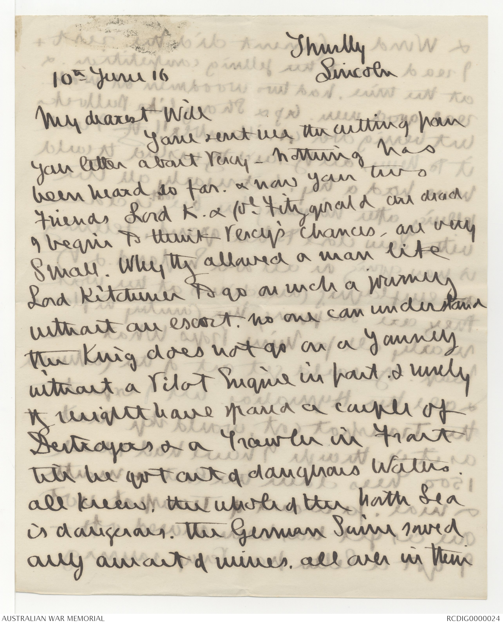 Letters to Field Marshal Lord William Birdwood about the death of ...