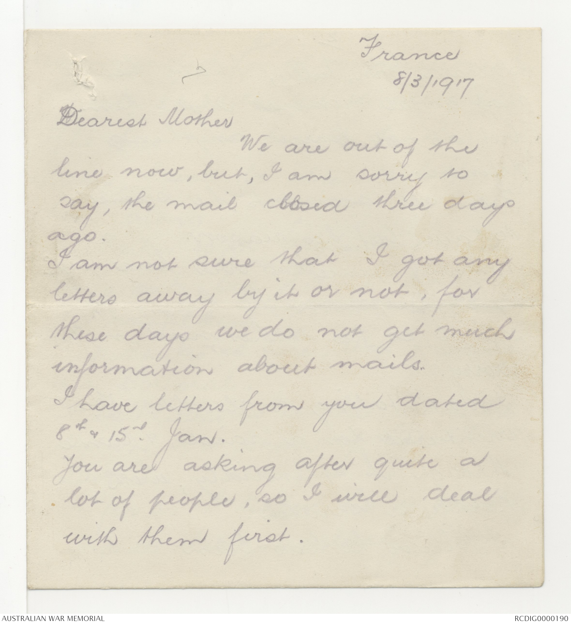 Letters from George Leslie Makin to his family 1917 1918