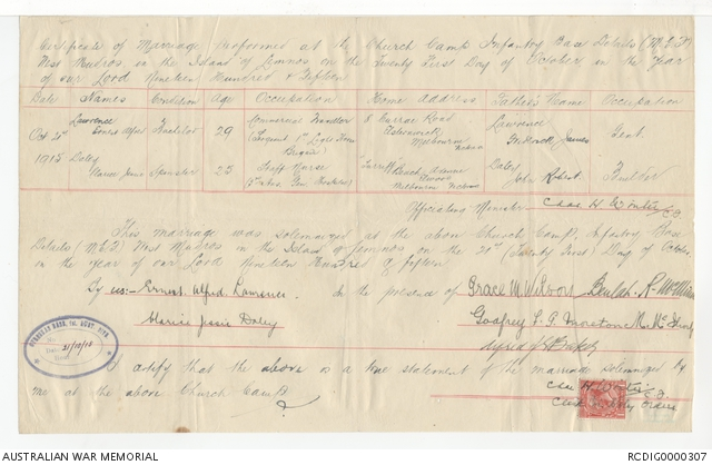 Marriage certificate for Clarice Jessie Daley and Ernest Alfred Lawrence. PR90133