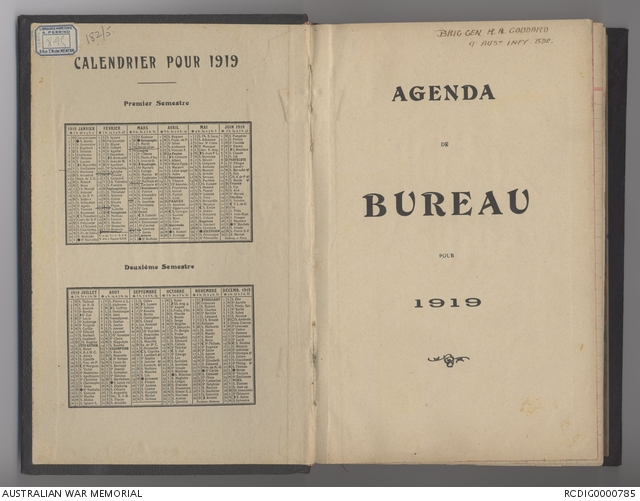 Calendrier 1919.1919 Diary Related To Henry Arthur Goddard The Australian