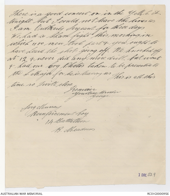 Letters from George Alexander Hugh Murray to his family