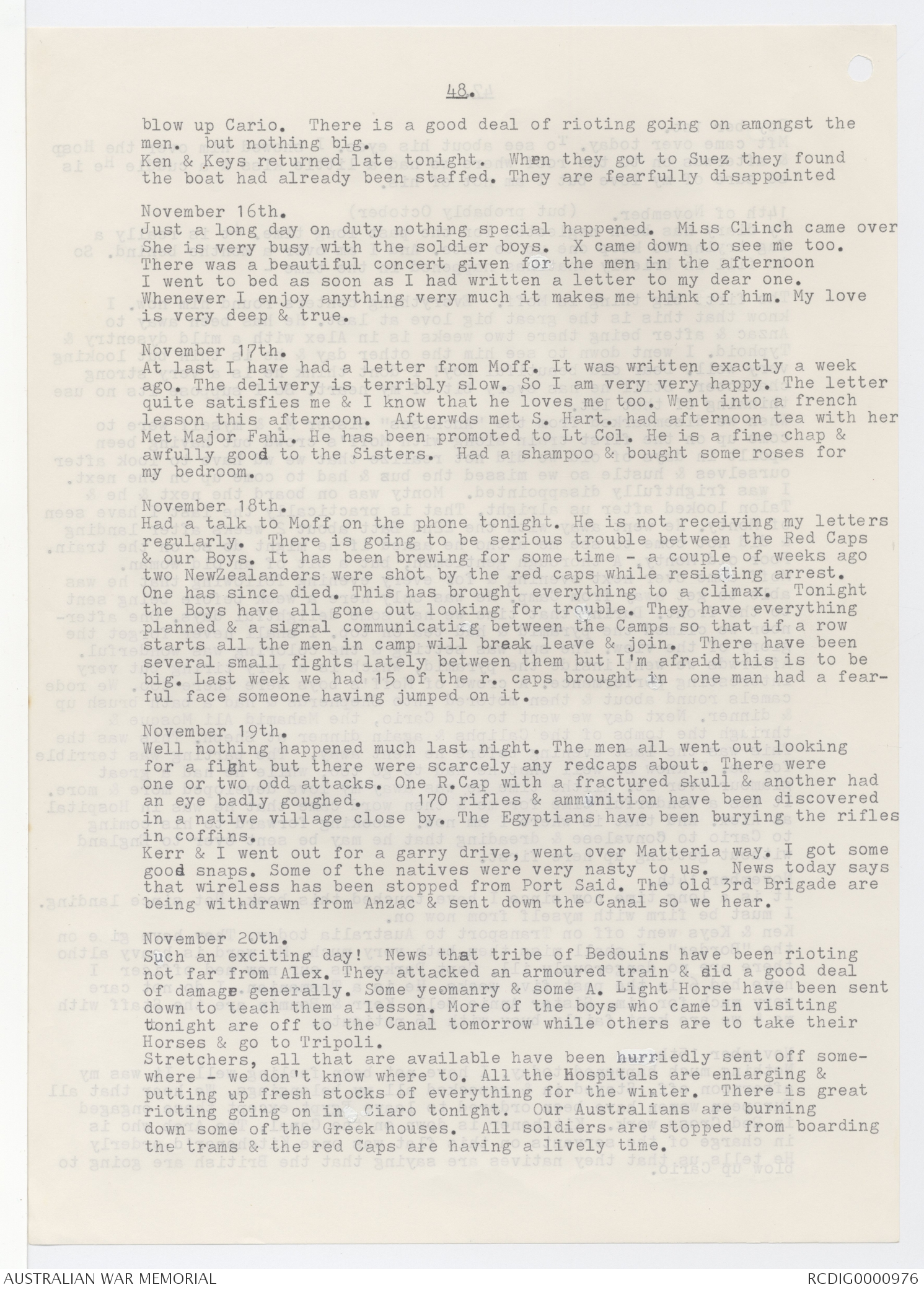 Transcript of diaries of Alice Ross King 1915 1919
