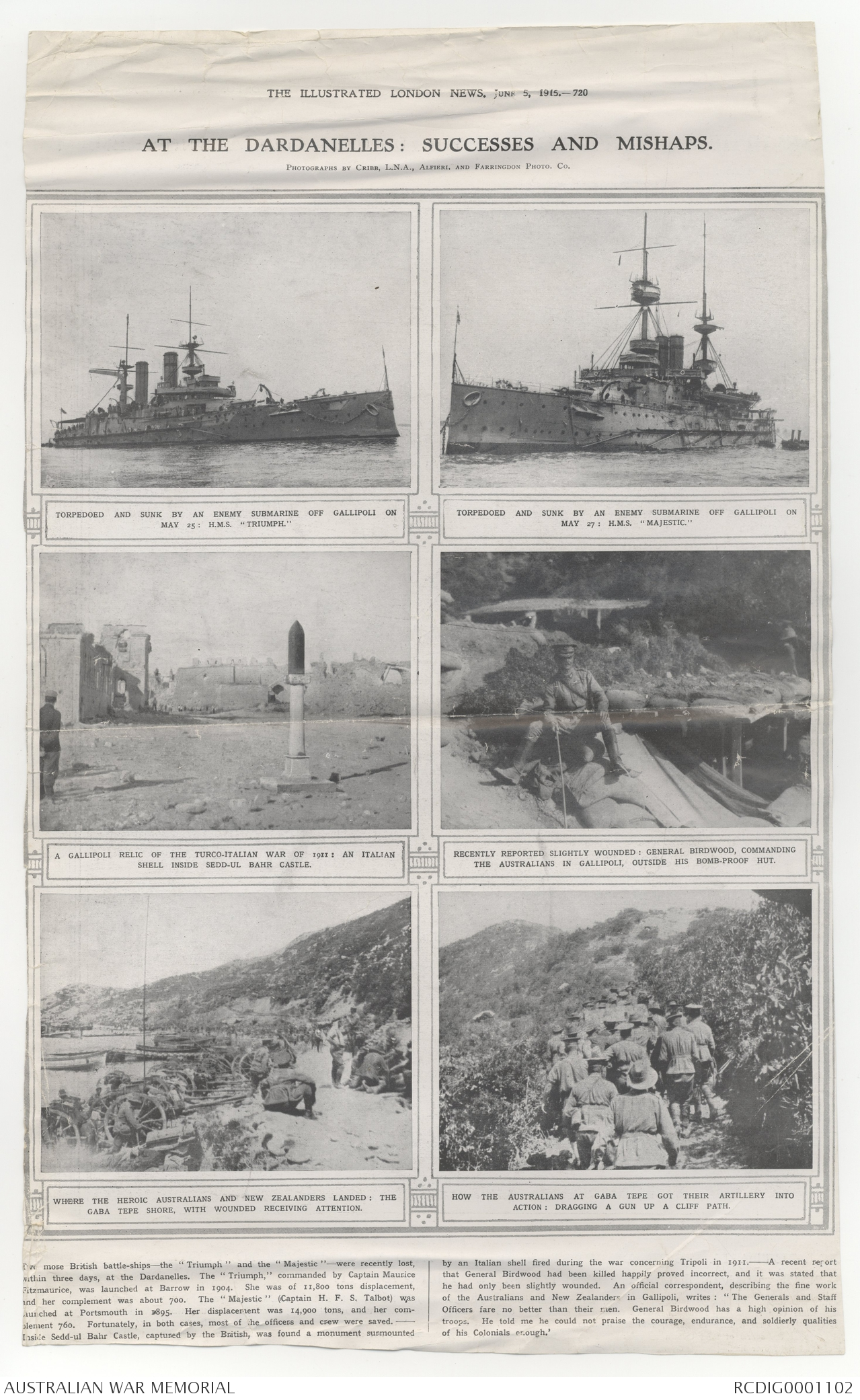Newspaper clippings and written ephemera from 1915 – 1920
