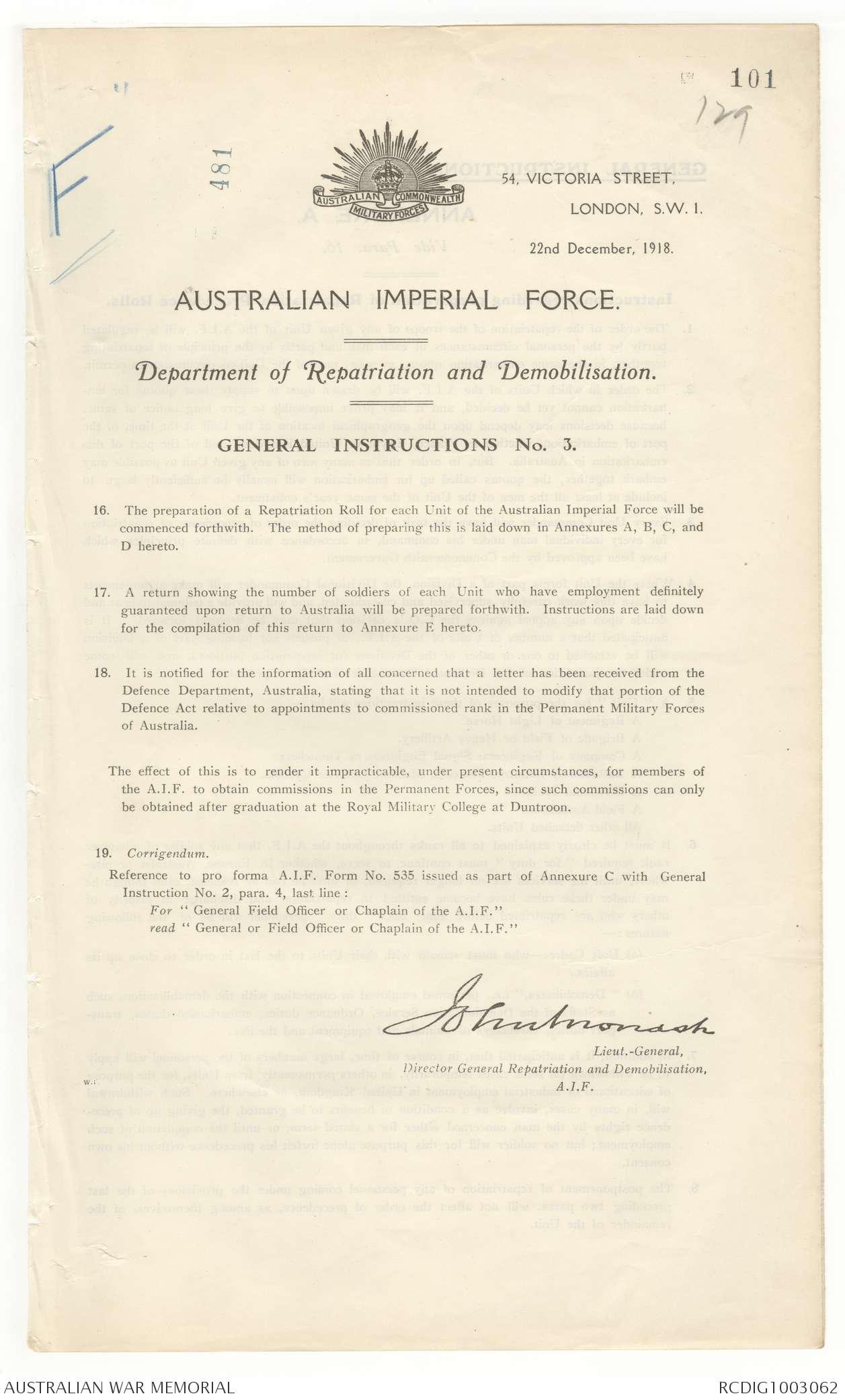 AWM4 30/1/3 PART 2 - December 1918 | The Australian War Memorial