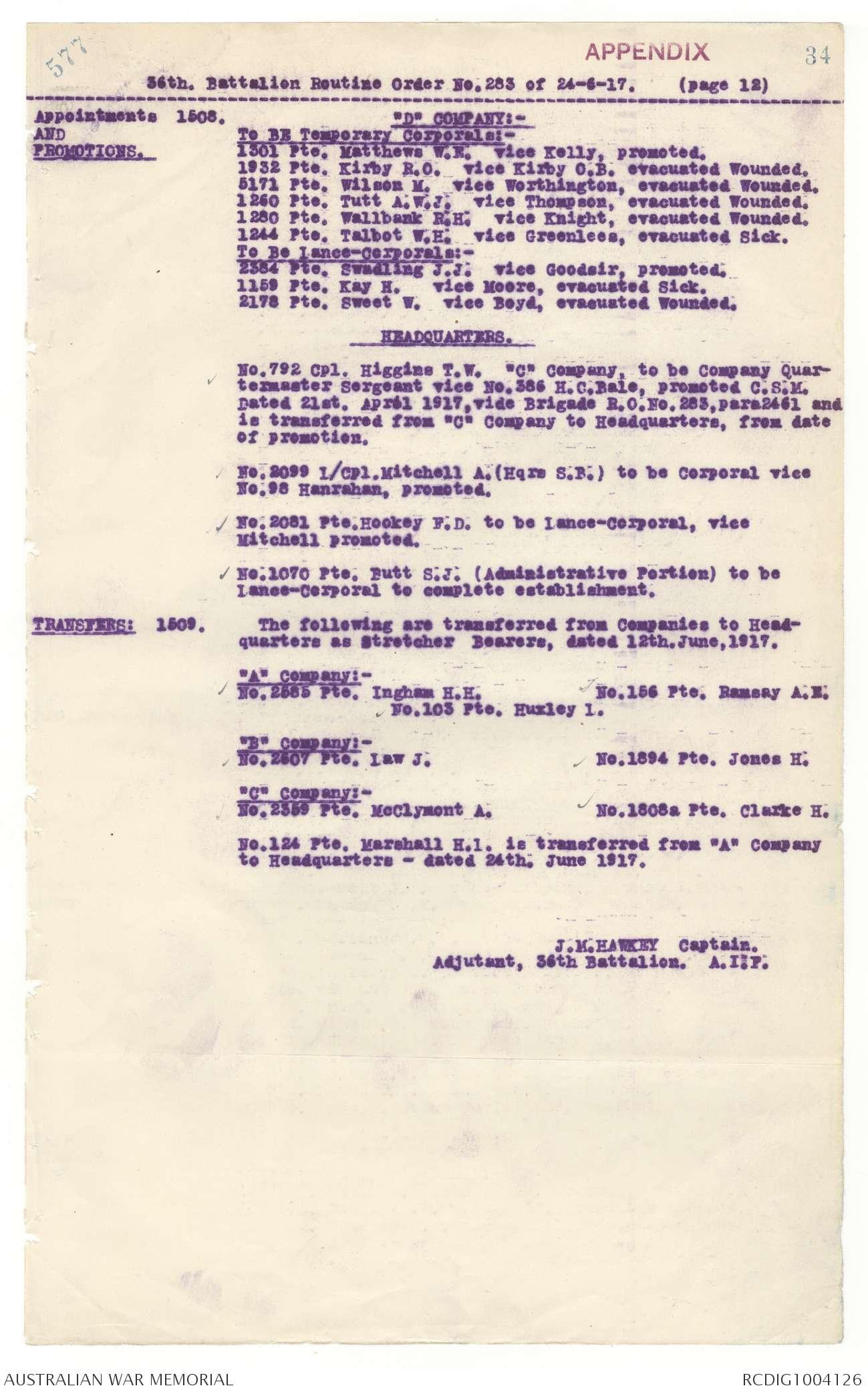 AWM4 23/53/8 - June 1917 | The Australian War Memorial