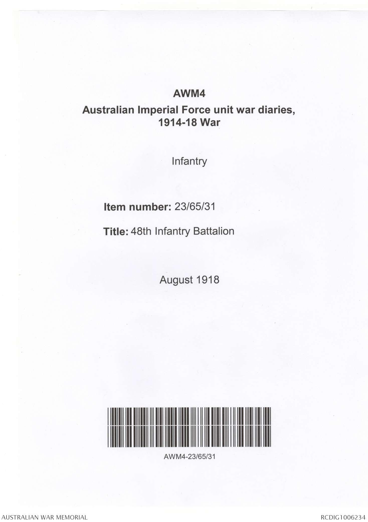 AWM4 23/65/31 - August 1918 | The Australian War Memorial