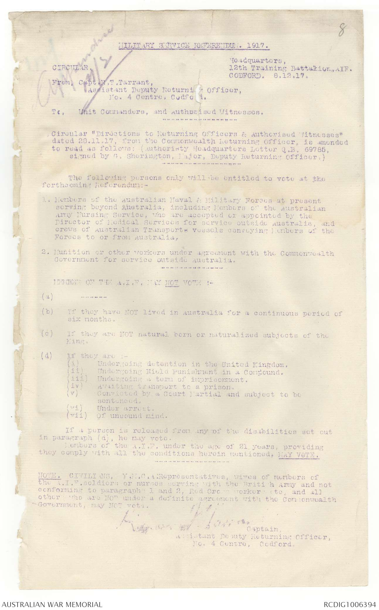AWM4 23/92/5 - December 1917 | The Australian War Memorial