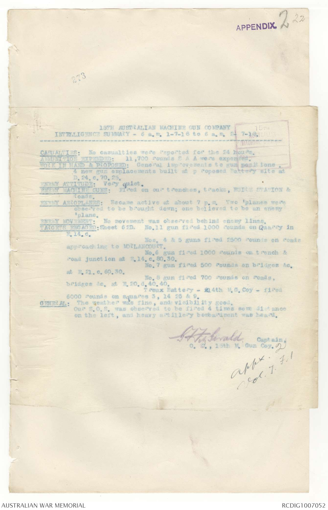 AWM4 24/20/29 PART 1 - July 1918 [includes appendices] | The