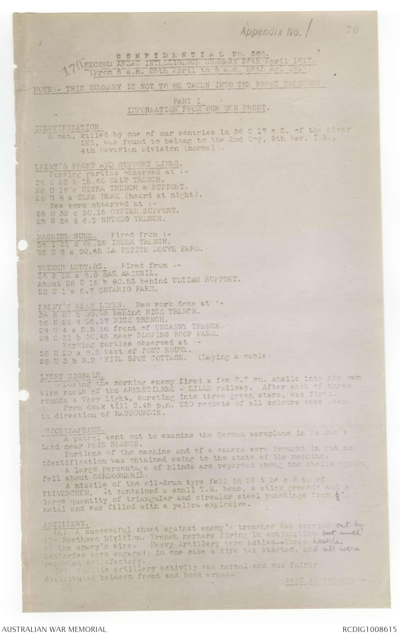 AWM4 1/33/12 PART 2 - April 1917 | The Australian War Memorial