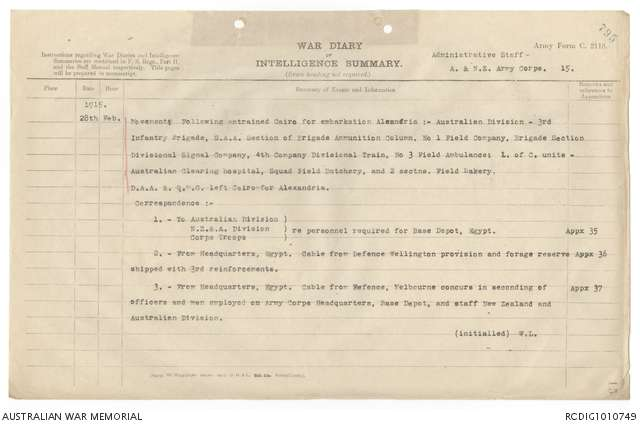 AWM4 1/28/3 PART 2 - February 1915   The Australian War Memorial