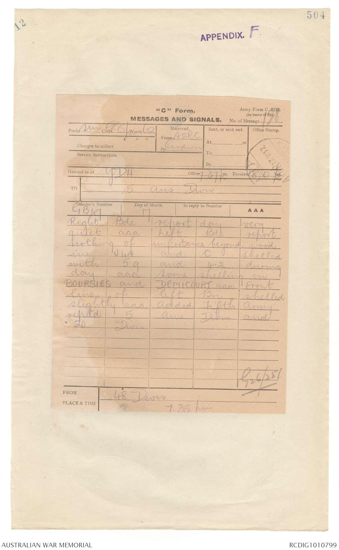 AWM4 1/50/15 PART 10 - May 1917 | The Australian War Memorial