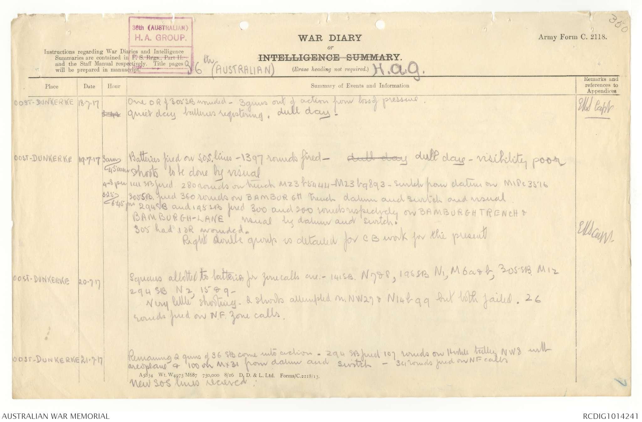 Awm4 13 25 18 Part 1 July 1917 The Australian War Memorial
