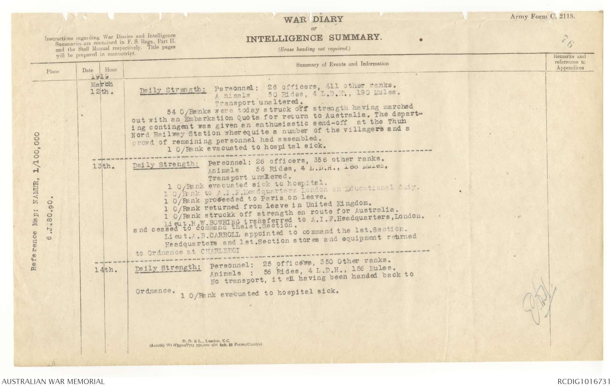AWM4 13/75/36 - March 1919 | The Australian War Memorial