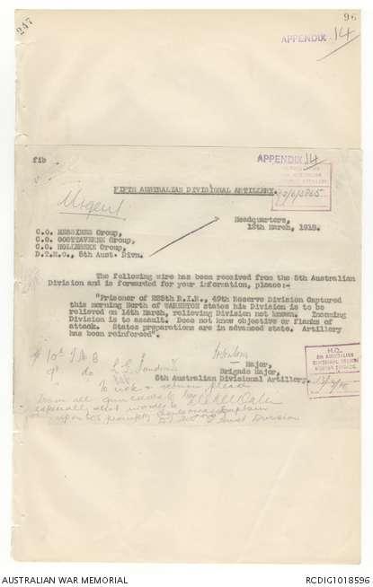 AWM4 13/93/20 PART 2 - March 1918 | The Australian War Memorial