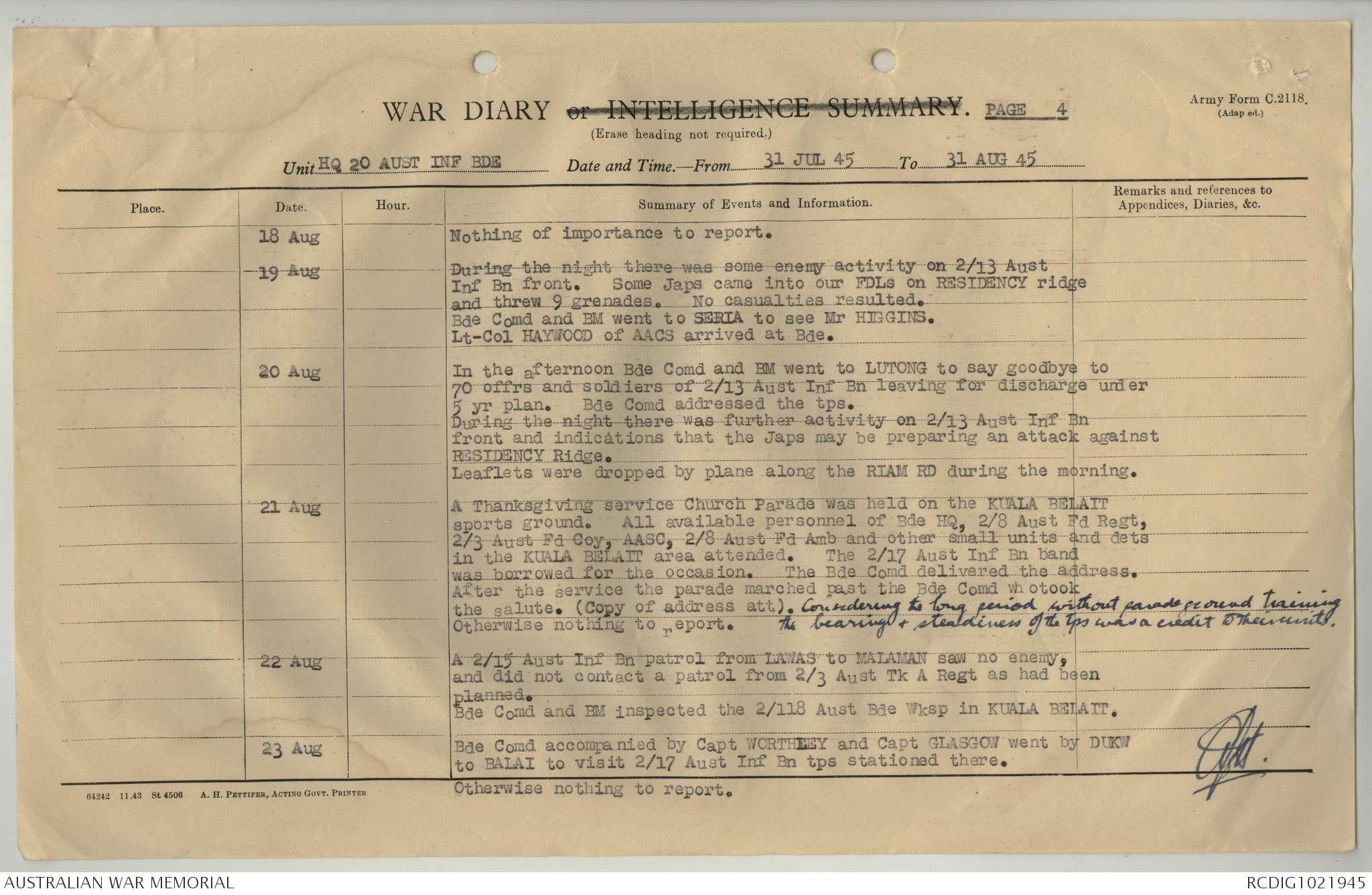 AWM52 8/2/20/117 - August 1945 - February 1946 | The Australian War