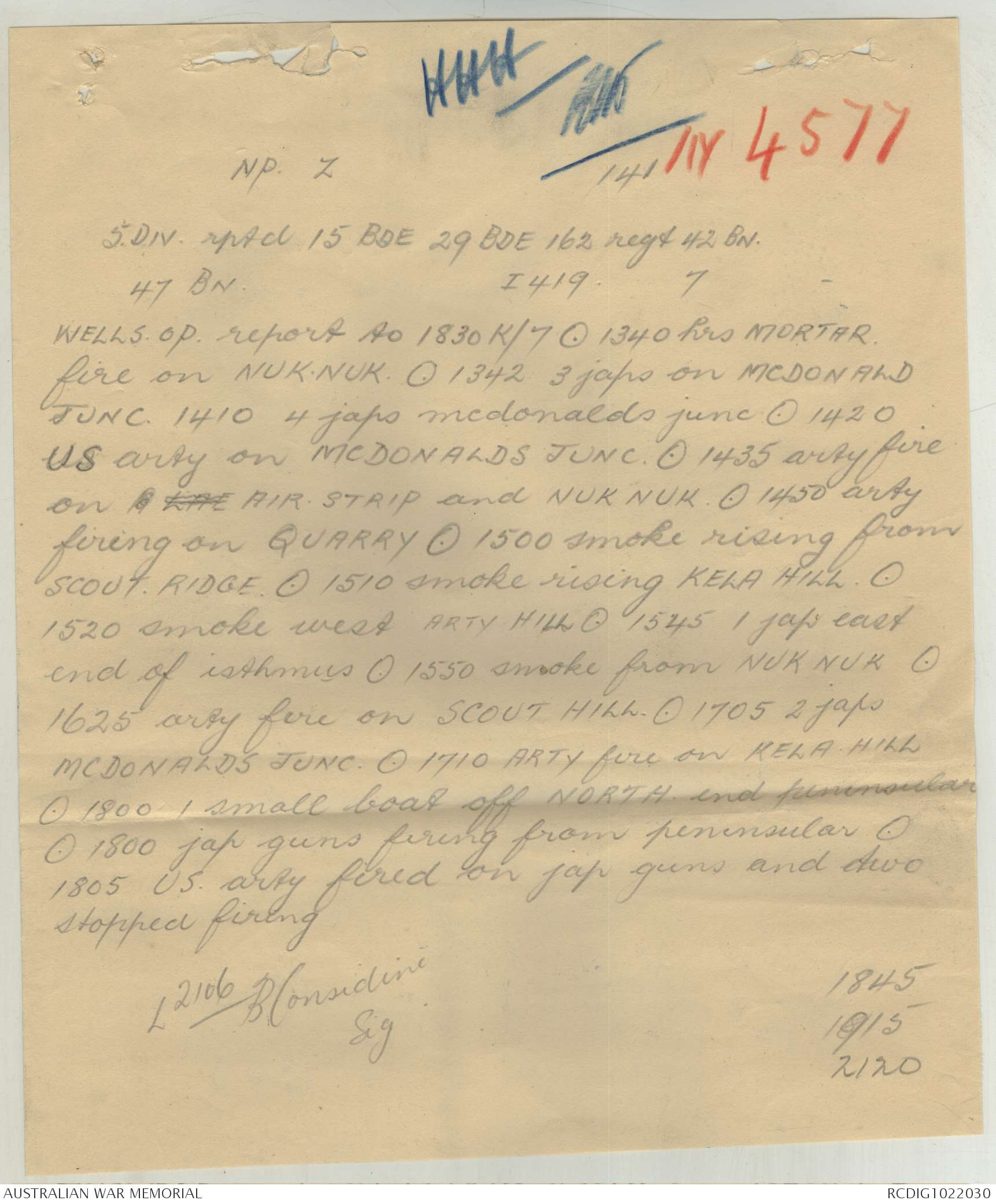 AWM52 8/2/15/43 - September 1943, Messages, part 3 of 10