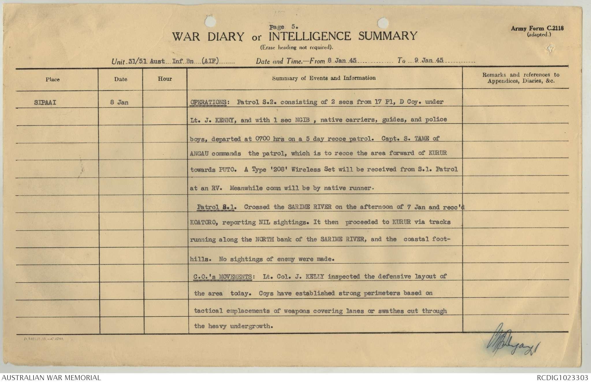 AWM52 8/3/70/26 - January 1945 | The Australian War Memorial