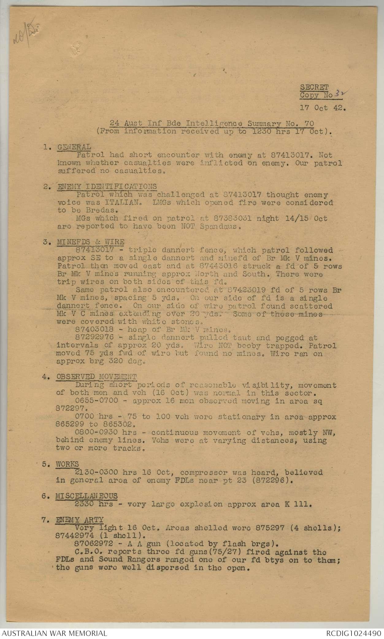 AWM52 8/2/24/13 - October 1942 | The Australian War Memorial