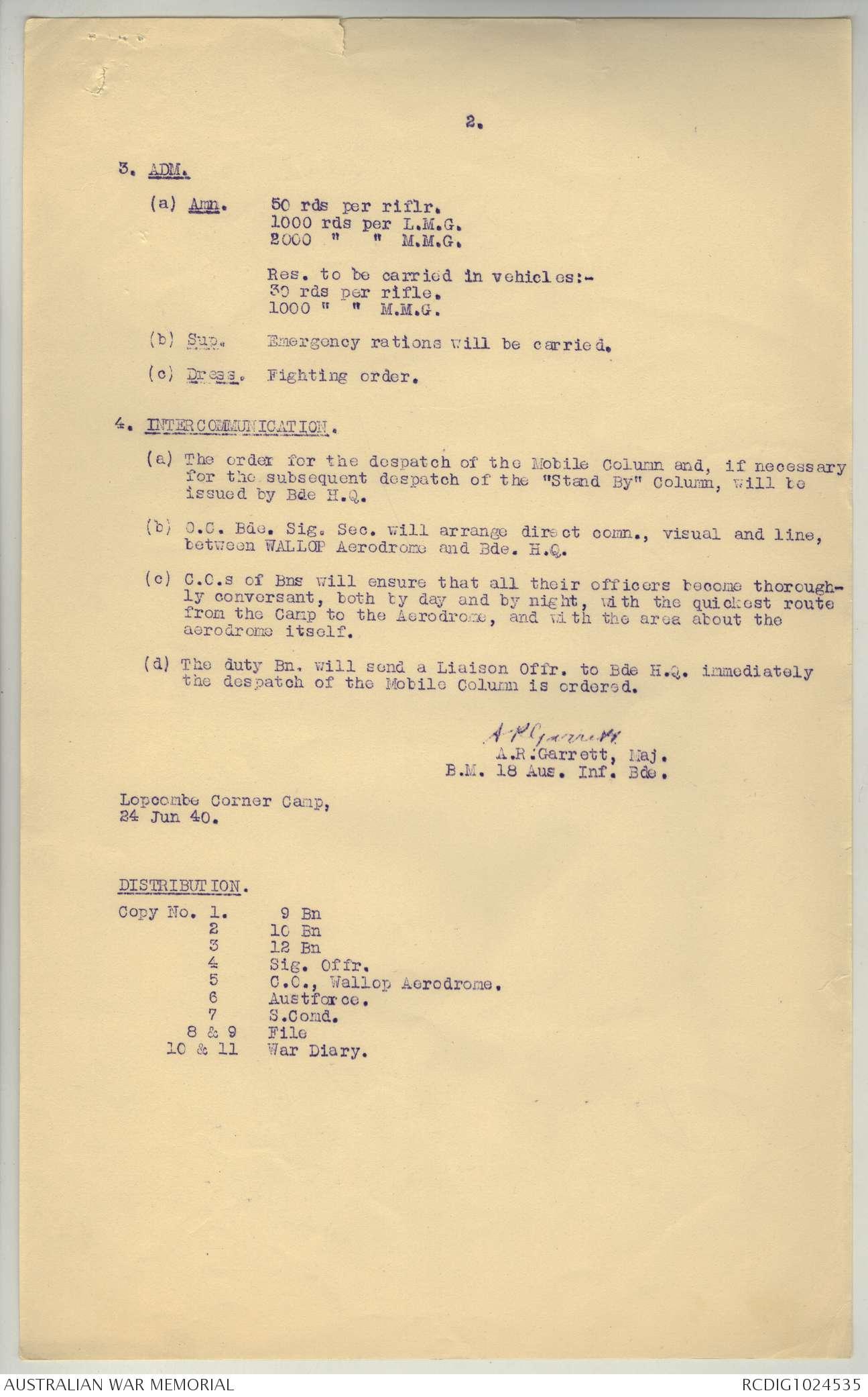 AWM52 8/2/18/2 - June - November 1940 | The Australian War Memorial