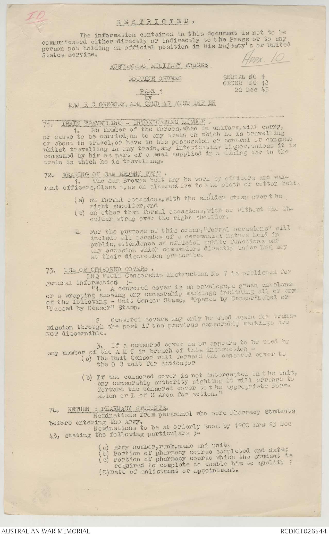 AWM52 8/3/86/11 - December 1943 | The Australian War Memorial