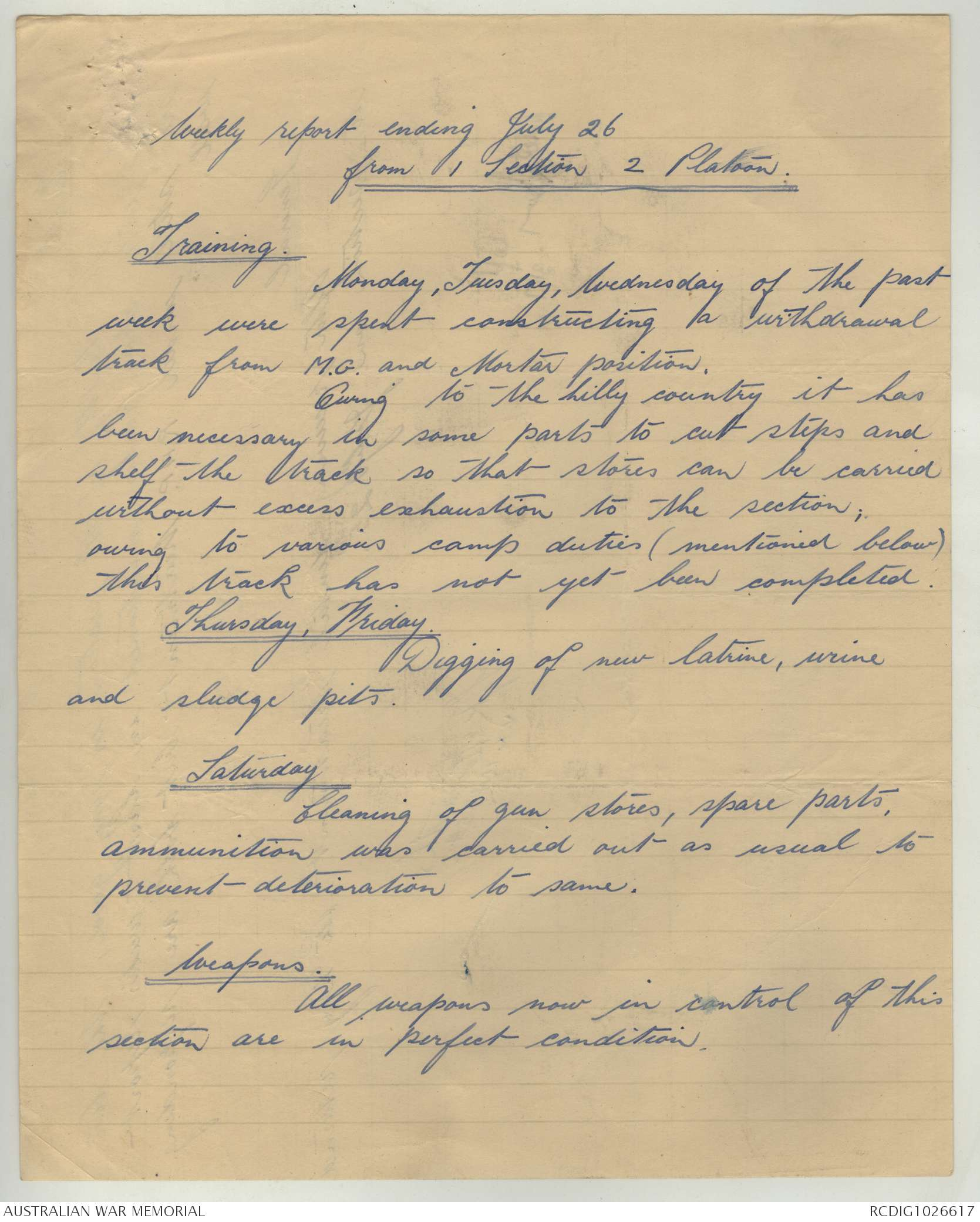 AWM52 8/3/62/34 - July 1943, Appendices, B and D Companys, Situation