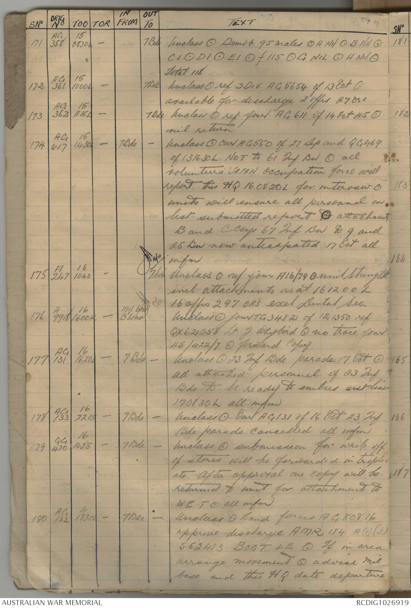 AWM52 8/3/96/18 - 1945, Log Diary, part 2 of 3   The