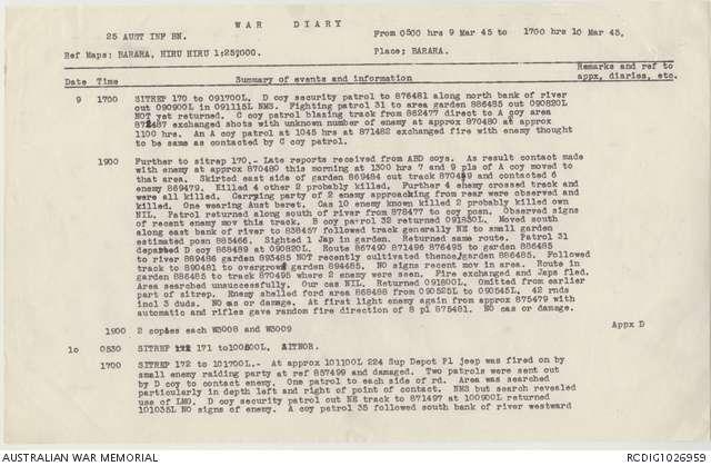 AWM52 8/3/63/23 - March, May - June 1945   The Australian War Memorial