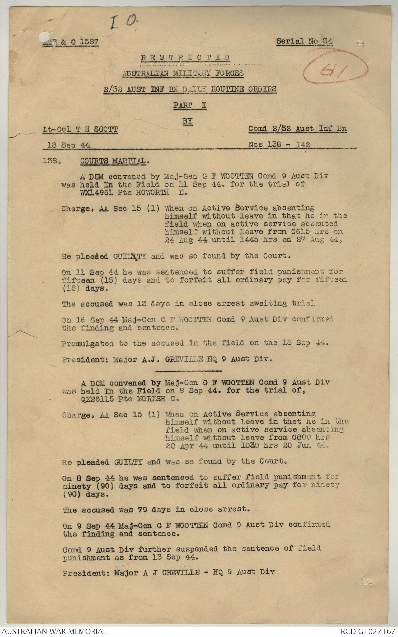 AWM52 8/3/32/26 - September - October 1944 | The Australian War Memorial