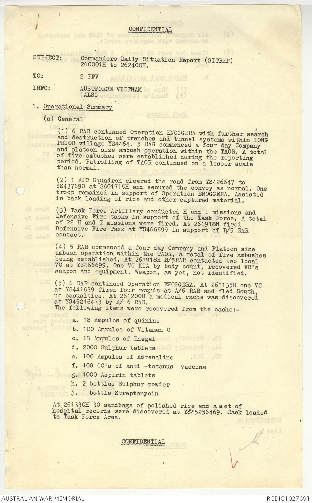 AWM95 2/6/3 - 1-31 July 1966, Narrative, Annexes, Summary