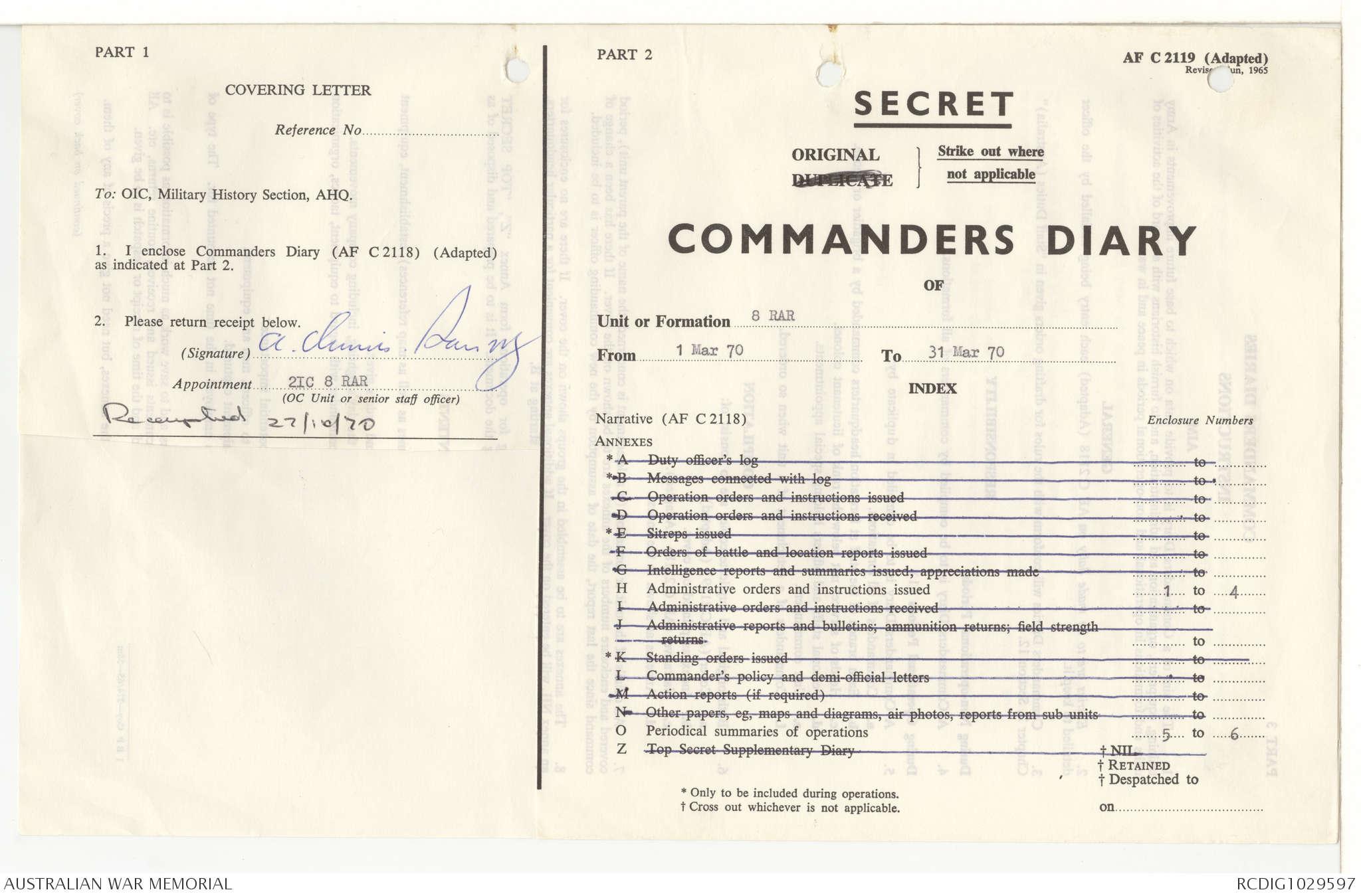 AWM95 7/8/7 - 1-31 March 1970, Narrative, Annexes | The Australian ...