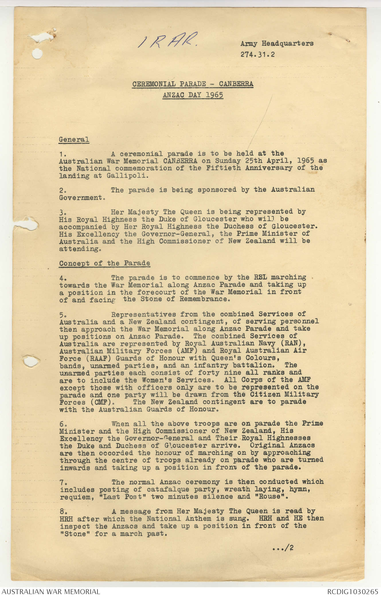 AWM95 7/1/25 - 1-31 March 1965, Additional Annex material