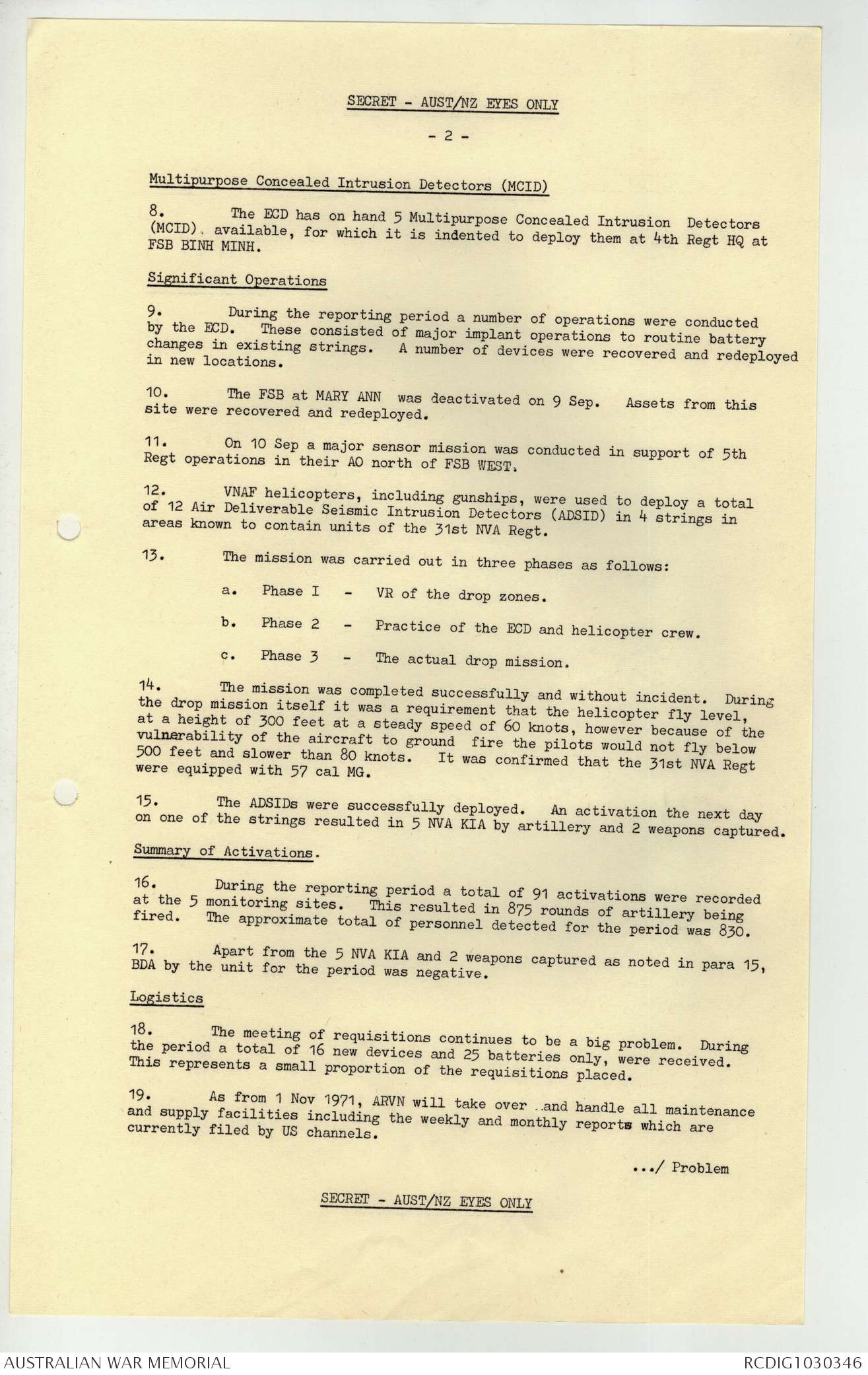 AWM103 R723/1/57/37 - September 1971, Monthly report | The